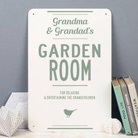 Personalised Garden Room Metal Sign, Black/Grey/Red