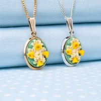 Hand Painted Daffodil Pendant Necklace