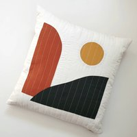Dusk Abstract Landscape Quilted Cushion Cover