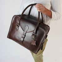 Overnight Personalised Leather Weekend Bag Conker