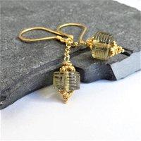 Carved Olive Quartz Dangle Earrings In Gold Vermeil, Gold
