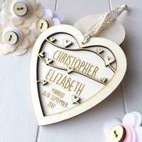 Personalised Wedding Or Anniversary Heart, White/Baby Pink/Pink