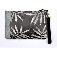 Screenprint Leaf Leather Clutch Bag