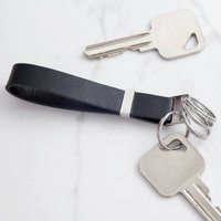 Black Leather Keyring With Stainless Steel Rings