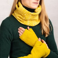 Yellow Knitted Fair Isle Snood Soft Lambswool