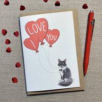 Personalised Tuxedo Cat I Love You Valentine's Card