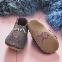 Star Sign Constellation Moonstone Suede Baby Shoes, Black/Purple/Light Pink