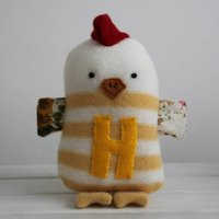 Striped Hen With Initial, Yellow/White/Pink