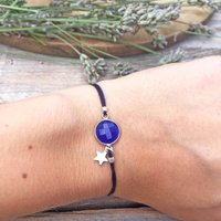 Chalcedony Star Charm Friendship Bracelet, Aqua/Green/Navy Blue