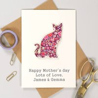 Personalised Mother's Day Liberty Cat Card, White/Brown