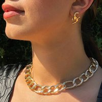 Gold Figaro Chain Choker Necklace, Gold