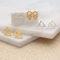 Brushed Finish Geometric Earrings