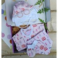 London Pink Baby Grow, Hat, Bib And Mittens Set