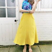 Annie Linen Blend Midi Skirt In Sunshine Yellow