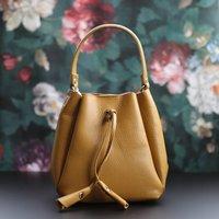 Leather Drawstring Mini Handbag, Yellow