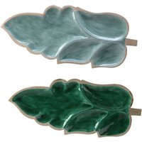 Glazed Mango Wood Leaf Serving Platter