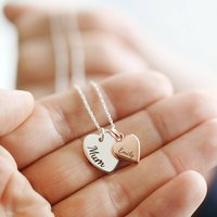 Personalised Double Heart Charm Necklace, Silver/Gold/Rose Gold