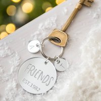Personalised Silver Charm Friends Keyring