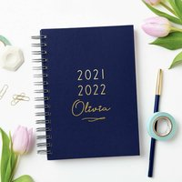 Personalised Classic Mid Year Academic Diary, Ivory/White/Midnight Blue