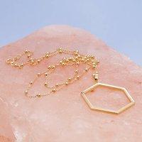 Hexagon Pendant On Bobble Chain