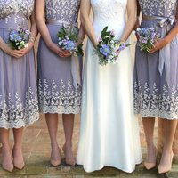 Bespoke Lace Bridesmaid Dresses In Periwinkle Blue, Blue