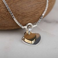 Silver And Gold Twin Heart Charms Bracelet, Silver