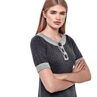 Cotton, Wool And Cashmere Button Dress, Charcoal/Grey/Silver