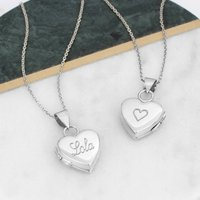 Personalised Sterling Silver Heart Locket Necklace, Silver