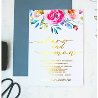 Gold Foil Floral Watercolour Wedding Invitation Pack, Black/White/Grey