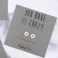 Doughnut Sterling Silver Earrings, Silver