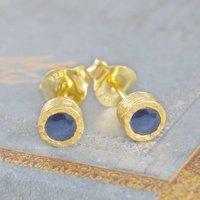 Rich Blue Sapphire Gold Stud Earrings, Gold
