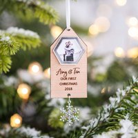 Personalised Photo Couples Christmas Hanging Decoration