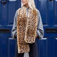 Long Faux Fur Leopard Print Stole