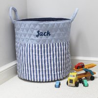 Personalised Blue Stripe Quilted Toy Bag
