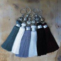 Classic Silky Black And Greys Tassels, Turquoise/Aqua/Blue