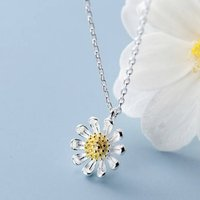 Sterling Silver Daisy Pendant Necklace, Silver