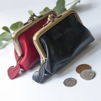 Real Leather Cute Coin Purse, Black/Red