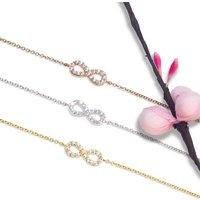 Small Infinity Bracelet 925 Silver, Yellow, Rose Gold, Silver
