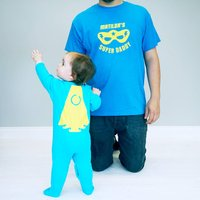 Personalised Daddy And Me Super Hero Set, Sapphire Blue/Sapphire/Blue