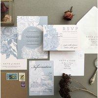 Grey And Blush Etched Rose Wedding Invitation Set, White/Cream/Baby Blue