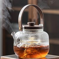 Glass Teapot With Wood Handle And Two Infusers