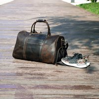 Leather Gym Bag With Shoes Storage