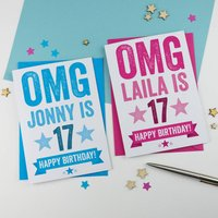 Omg You're 17 Personalised Birthday Card, Blue/Pink
