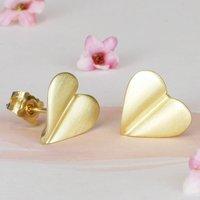 'Love Grows' 9ct Gold Heart Earrings, Gold