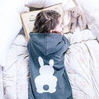 Personalised Children's Bunny Rabbit Onesie, Charcoal/Grey/Light Blue
