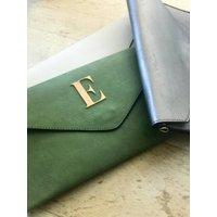 Golden Letter Clutch Bag In Colours