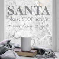 Personalised Santa Stop Here Wall Sticker, White/Black/Grey