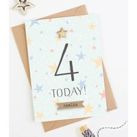 4th Birthday Card Personalised Four