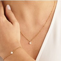 Pearl Necklace And Bracelet On Satellite Chain Set