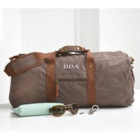 Personalised Vintage Overnight Holdall Brown
